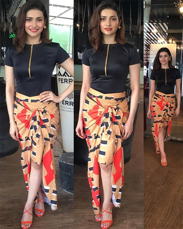 prachi desai :- For the taping of 'Thank God its Friday'  #zoom #aboutyesterday  Styled by my supergirl @sanjanabatra .. Wearing @masabagupta label