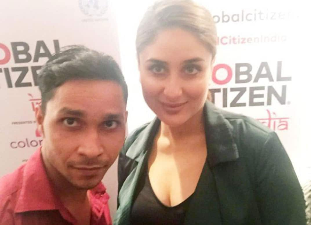 Kareena Kapoor with a fan at the #GlobalCitizenIndia launch
