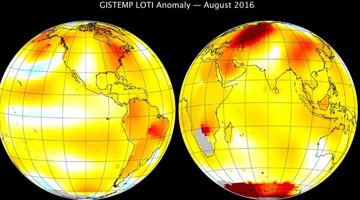 August 2016 warmest August in 136 years of modern records, says NASA