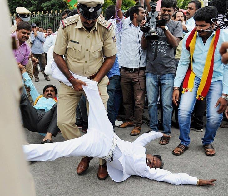 Police personnel detain pro-Kannada activists