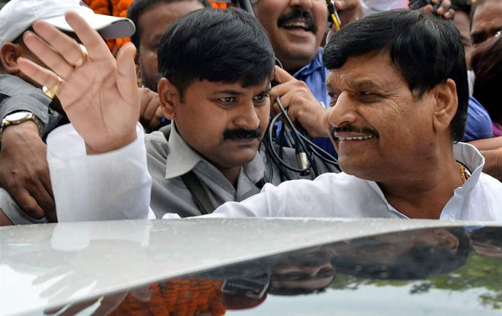 SP leader Shivpal Yadav arriving at Chowdhury Charan Singh Airport in New Delhi in Lucknow