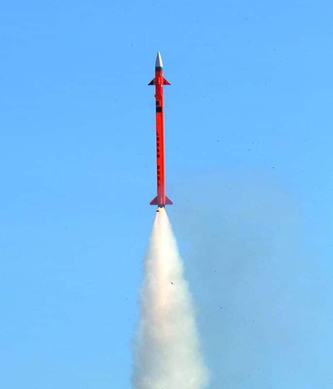 Long Range Surface to Air missile ( LRSAN) lifts off after it was test fired at the integrated test range at Chandipur off Odisha coast