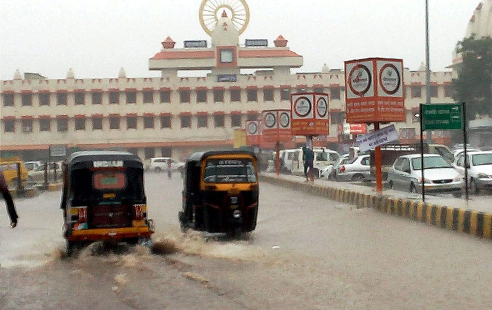 Water logging at the railway station during heavy rains in Varanasi