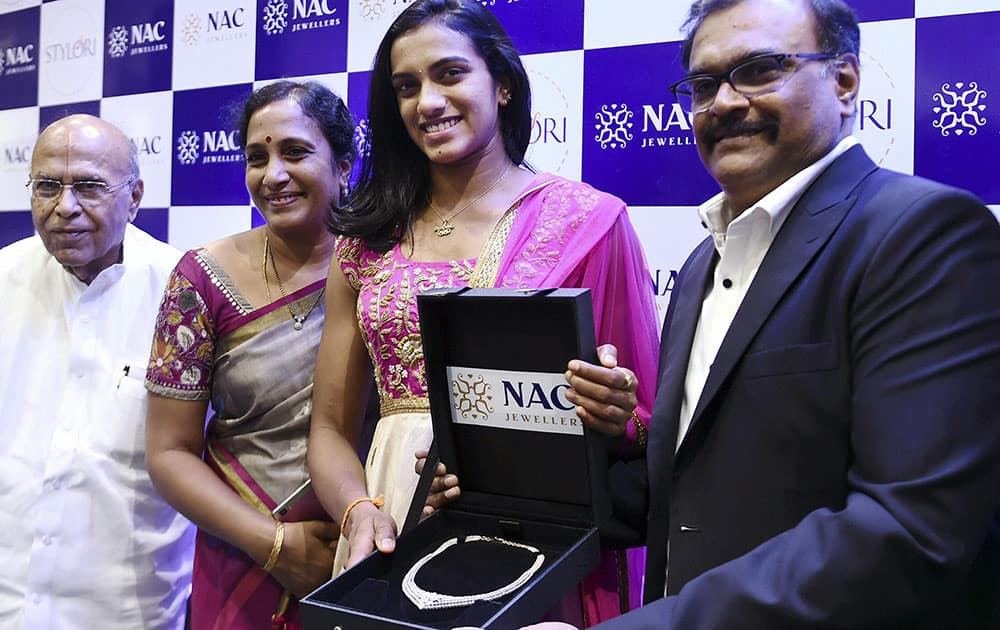 Olympic silver medalist P V Sindhu being felicitated at an event in chennai