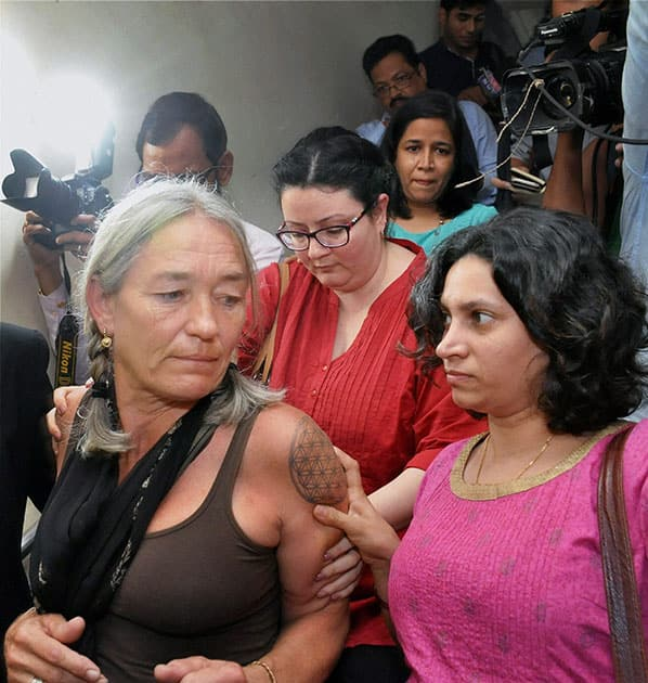 An upset Fiona Mackeown, the mother of British school girl Scarlett Keeling, after the verdict in her daughters rape and death case, in Goa