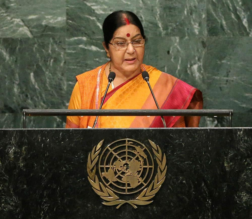 Sushma Swaraj speaks during the 71st session of the United Nations General Assembly at U.N. headquarters