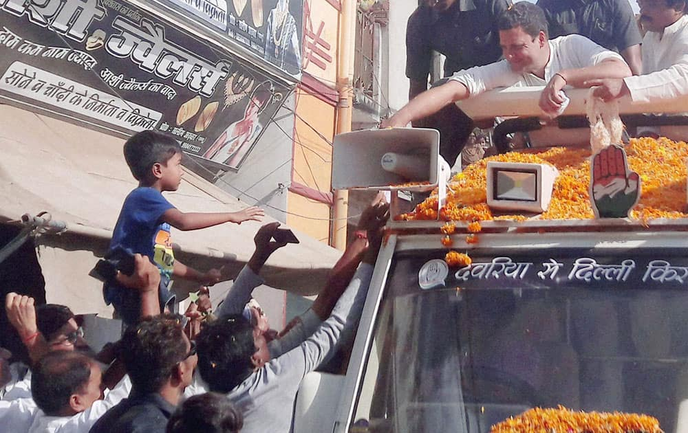 Congress Vice President Rahul Gandhi at a road show during his Kisan Yatra in Sitapur district