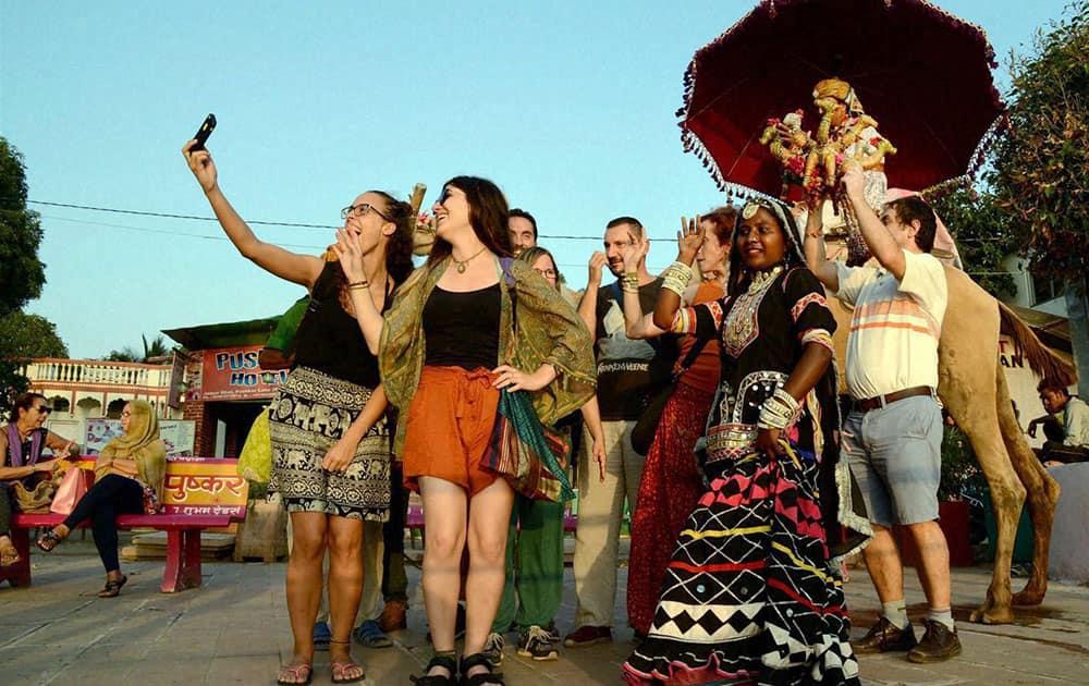 Tourists celebrating World Tourism Day in Pushkar