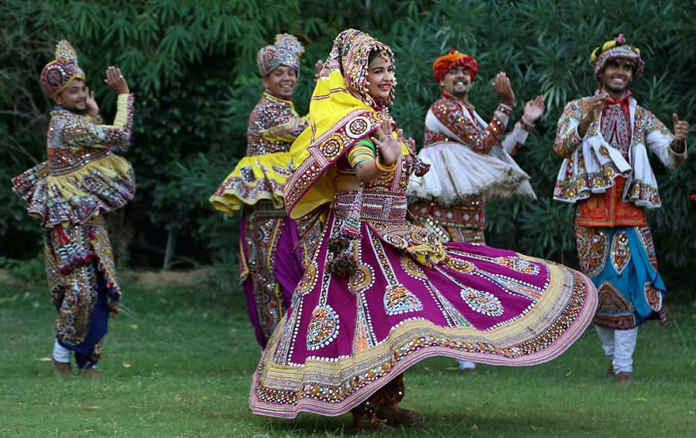 Girls practice the Garba dance ahead of the Navratri festival in Ahmedabad