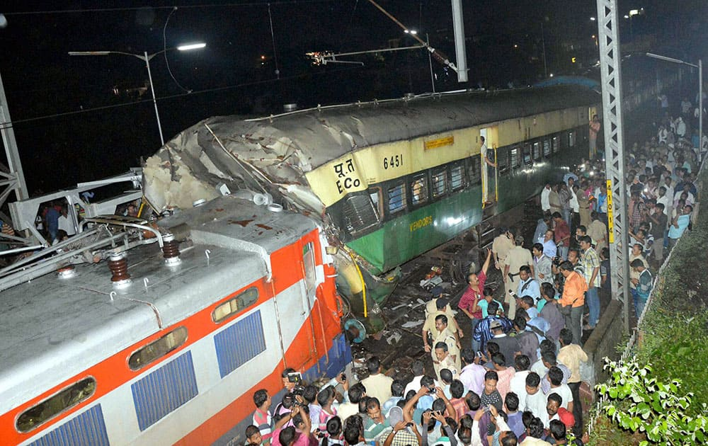 Bhadrak passenger DMU train hit to the back side of a goods train at Kathajodi passenger halt in Cuttack
