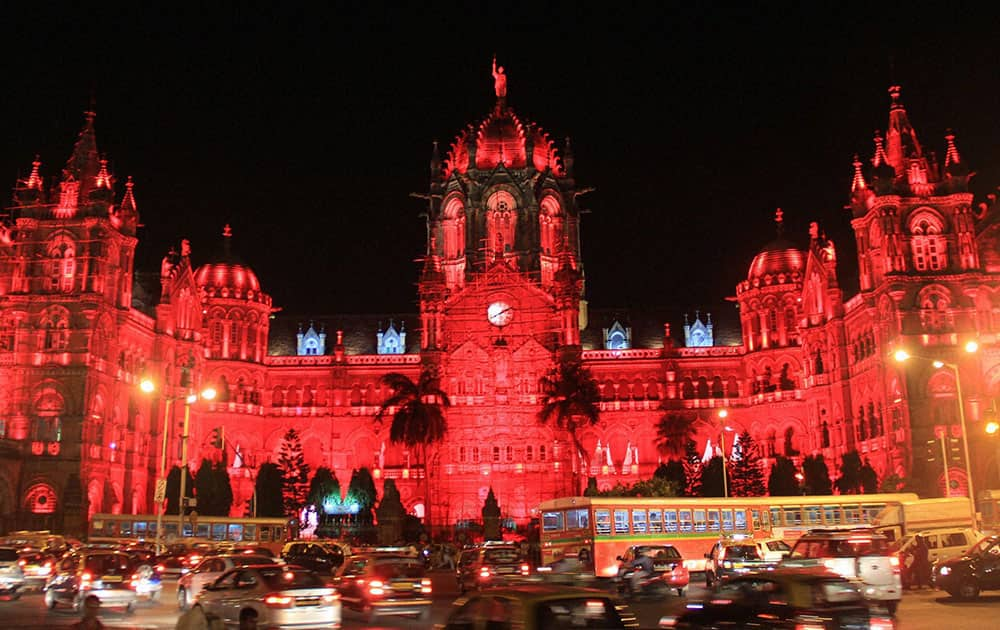 World Heritage site CST Railway station illuminated in Red colour to commemorate World Heart Day
