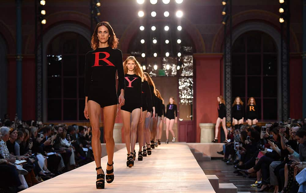 Models walk the runway during the Sonia Rykiel show as part of the Paris Fashion Week Womenswear Spring/Summer in Paris, France