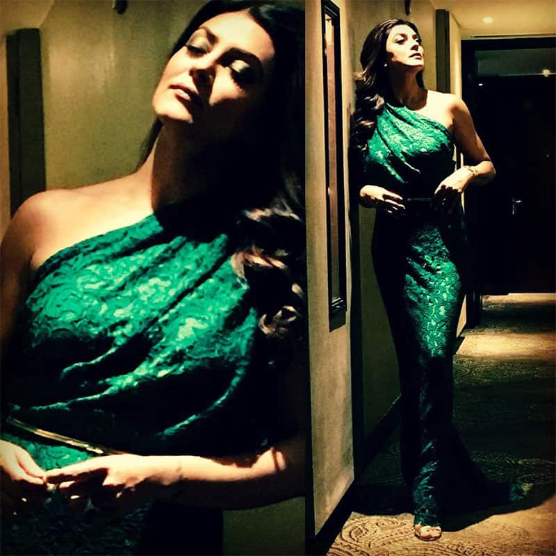 sushmita sen :- Ah!!!! #emerald #green ❤ this is what I wore to the launch of #jaguarxf in #delhi no one can beat #designer #carolinaherrera when it comes to #timeless #elegance ❤#stilletos by #gucci