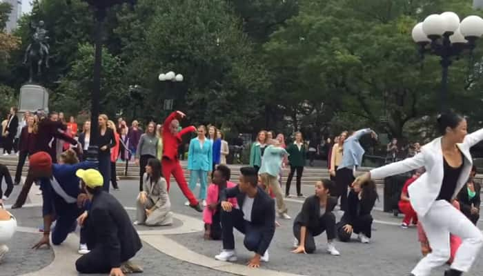Hillary Rodham Clinton: Flash mob in New York City pays tribute to Democratic presidential nominee's pantsuits – Watch it groove