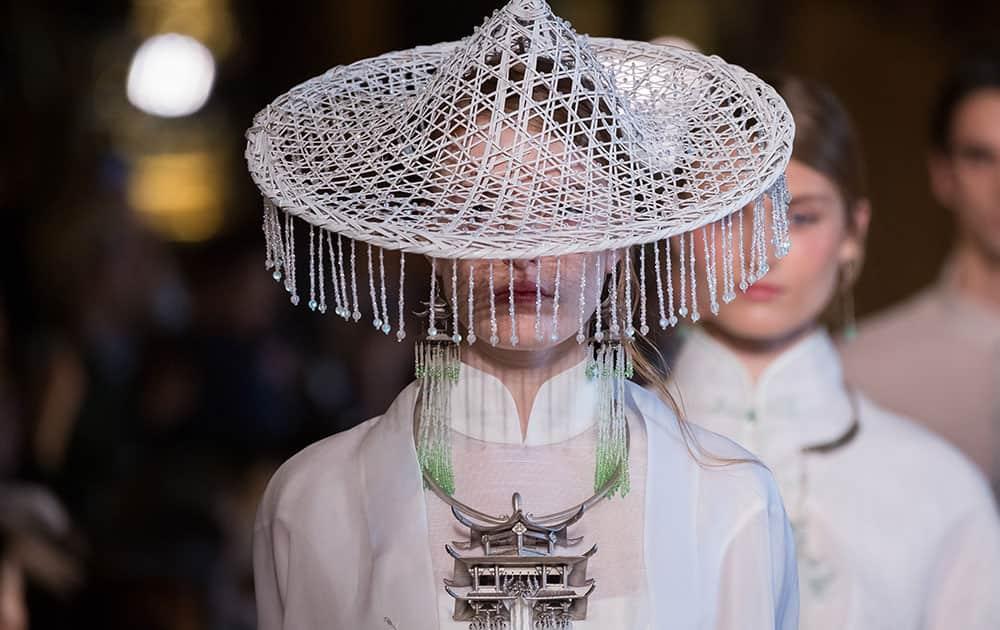 A model walks the runway during the Heaven Gaia show as part of the Paris Fashion Week