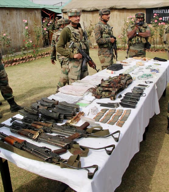 Arms and ammunition recovered from militants