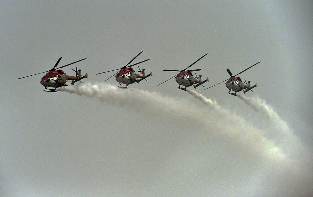 Indian Air Forces The Surya Kiran Aerobatic Team (SKAT) performs during the rehearsal for the Air Force Day parade at Hindan Air Force base in Ghaziabad