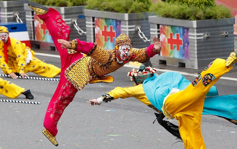 Dancers perform during the National Day celebrations in Taipei