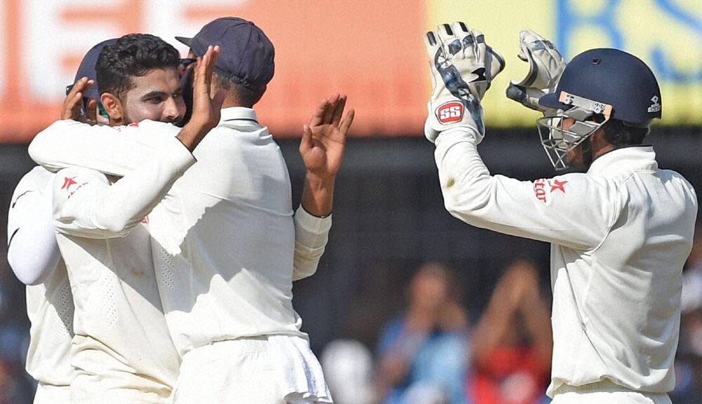 Indian bowler R Jadeja celebrates the wicket