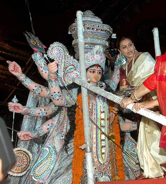 Bollywood Actress Rani Mukerjee at Durga puja pandal for Sindur khela event on the last day Durga puja
