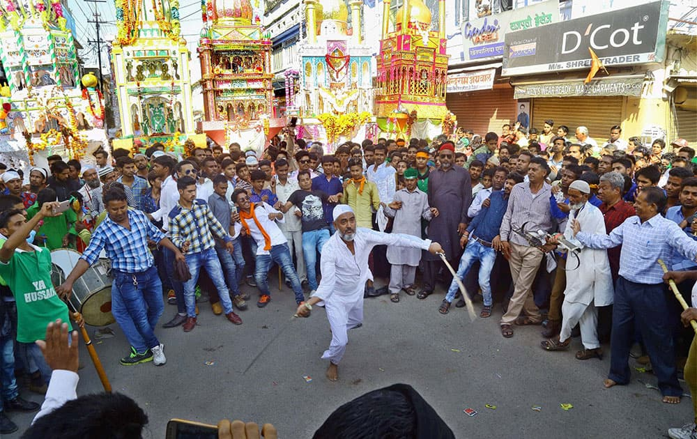 Muslim devotees participating in a procession on Muharram at Beawar, Rajasthan