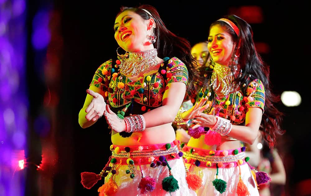Dancers perform during a charity event hosted by the Republican Hindu Coalition
