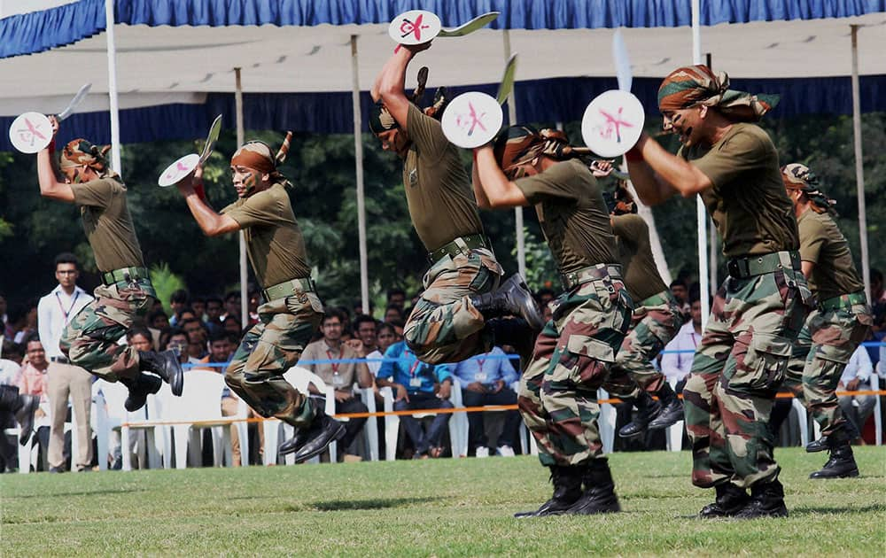 Solders of the Indian Army perform at Know Your Army show