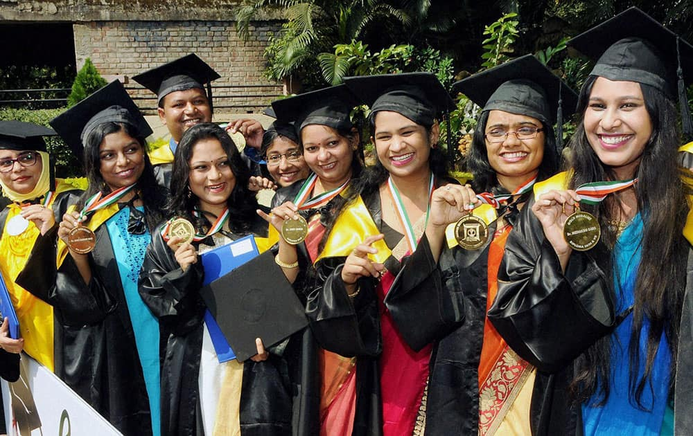 Students jubilate after the first convocation at Rajendra Institute of Medical Science (RIMS) in Ranchi