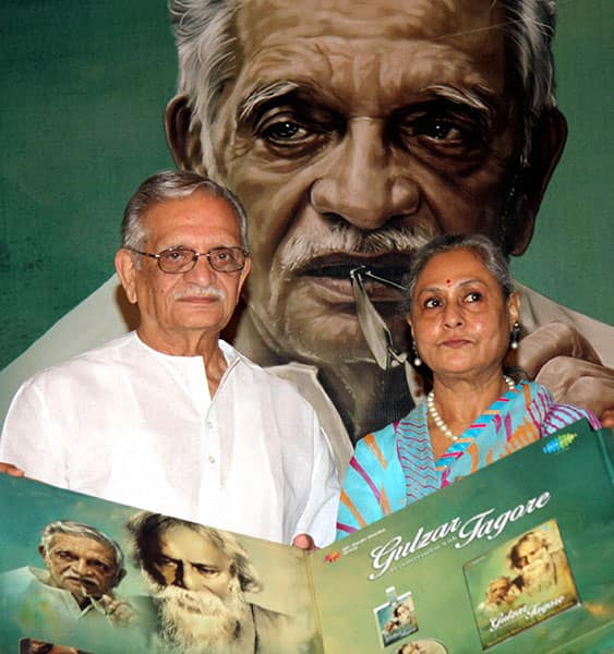 Jaya Bachchan and lyricist Gulzar during the launch of an album Gulzar in conversation with Tagore