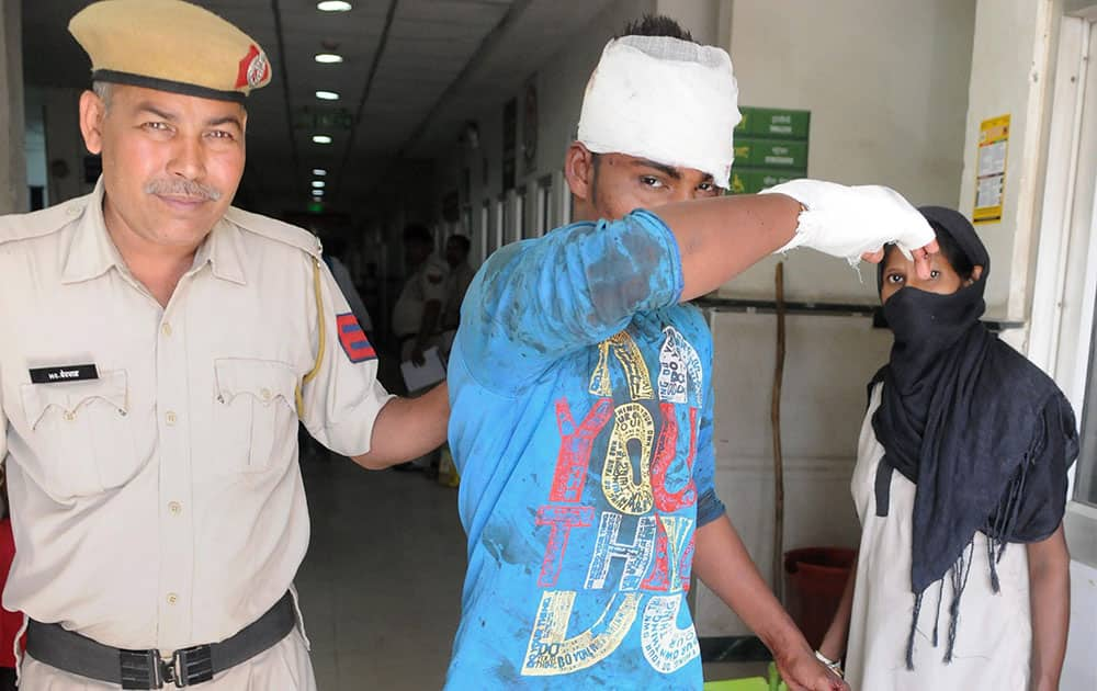 Police arrest accused Jitender 22, who allegedly attacked a northeastern girl with a knife MG Road Metro Station in Gurgaon