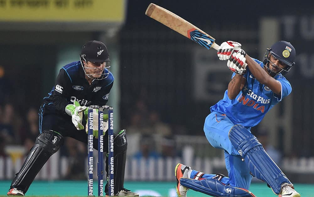 Indian batsman A Patel plays a shot during 4th ODI against New Zealand