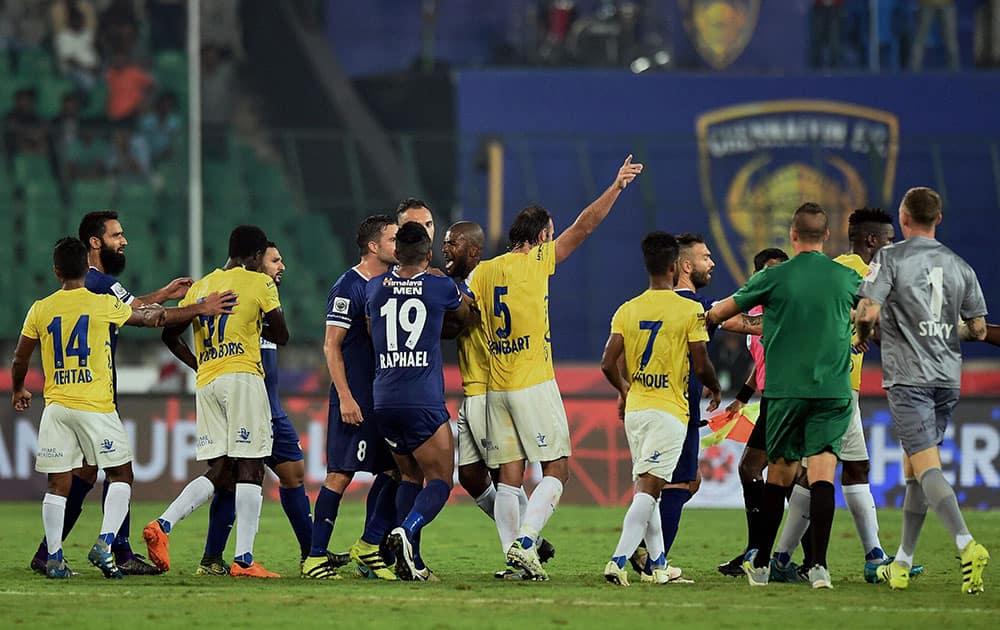 Players of Chennaiyin FC and Kerala Blasters FC clash during their ISL football Match at Jawaharlal Nehru Stadium in Chennai