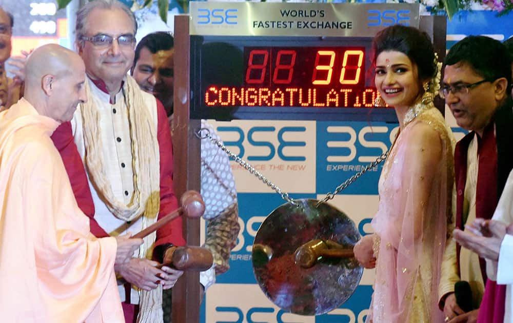 "Prachi Desai ringing the bell during a special ""muhurat"" trading session for Diwali at BSE in Mumbai"
