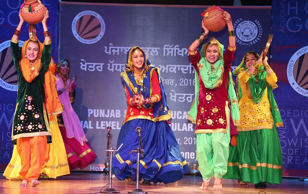 Girls perform Giddha during Punjab School Education Board's Zonal Co-Curricular Academic Competitions-2016 at Lovely Professional University in Jalandhar