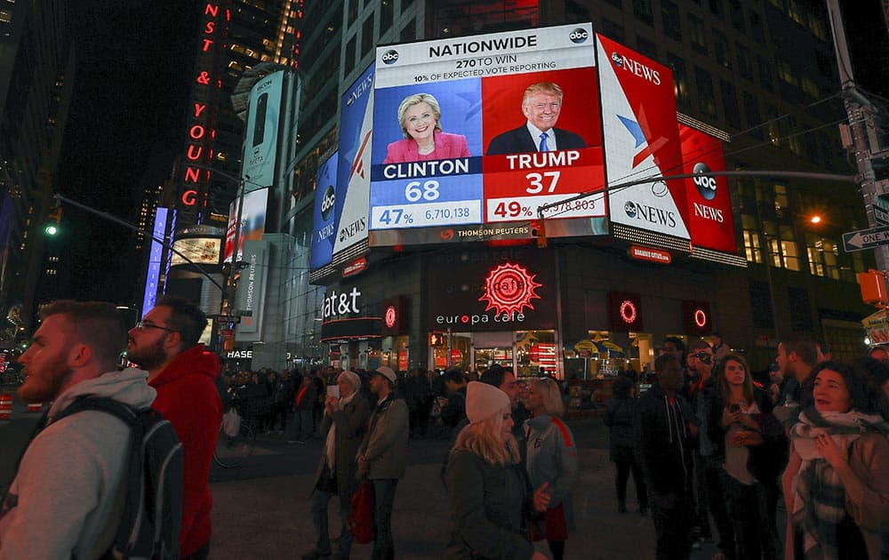 People gather in Times Square as they await the results of the presidential election