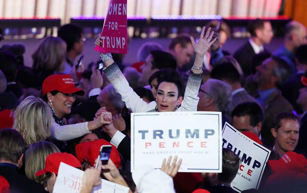 People celebrate during the call for Republican president-elect Donald Trump at his election night event at the New York Hilton Midtown