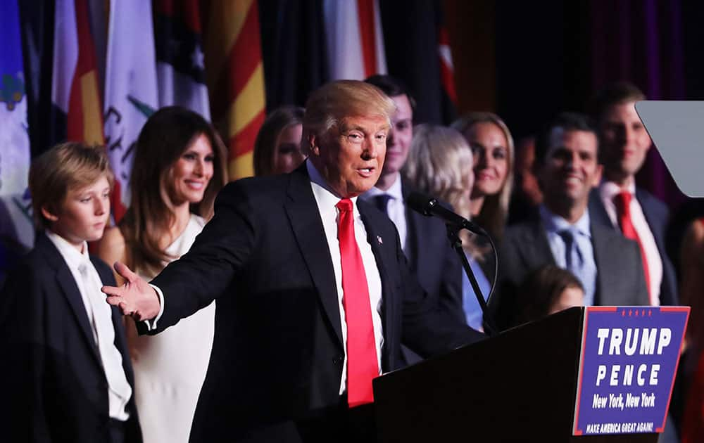 Republican president-elect Donald Trump delivers his acceptance speech during his election night event at the New York Hilton Midtown