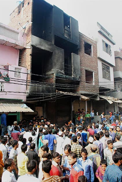 A view of the building, which housed the jacket manufacturing- factory which caught fire killing 13 people, in Shaheed Nagar locality of Sahibabad