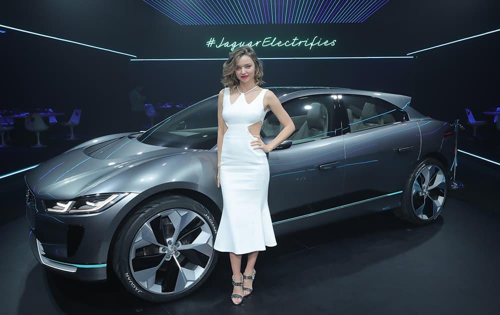 Supermodel Miranda Kerr with the Jaguar I-PACE Concept