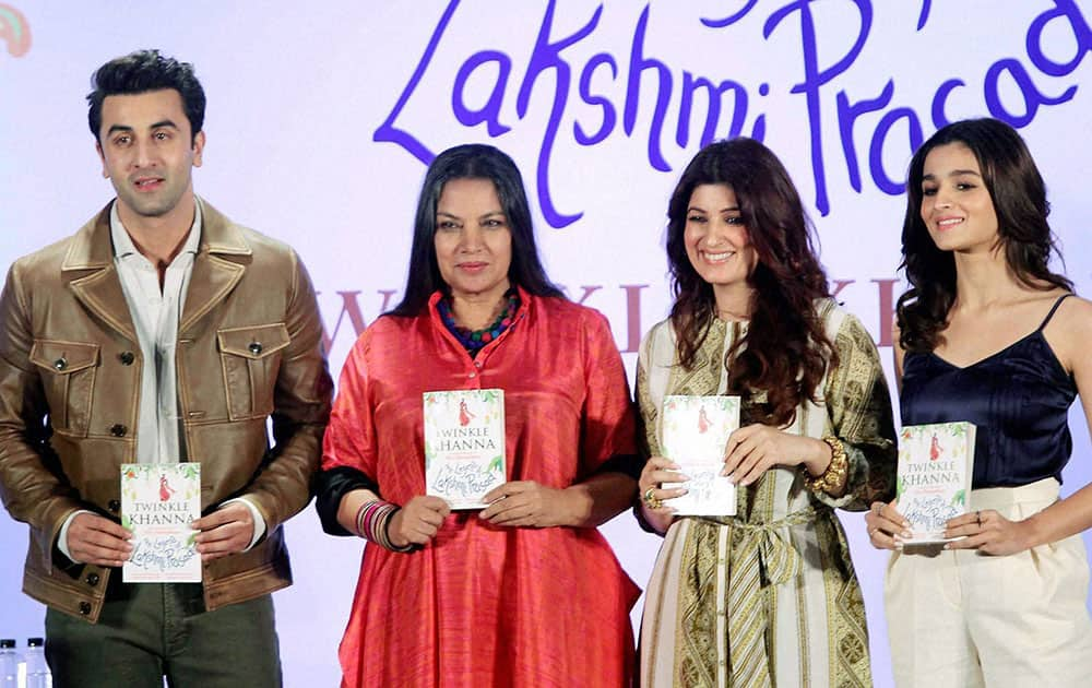 Ranbir Kapoor, Shabana Azmi, Twinkle Khanna and Alia Bhatt at the book launch of The Legend of Lakshmi Prasad, a collection of four short stories by author Twinkle Khanna in Mumbai