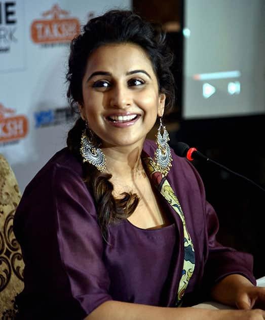 Vidya Balan addressing the media on her movie Kahaani 2 in Hyderabad