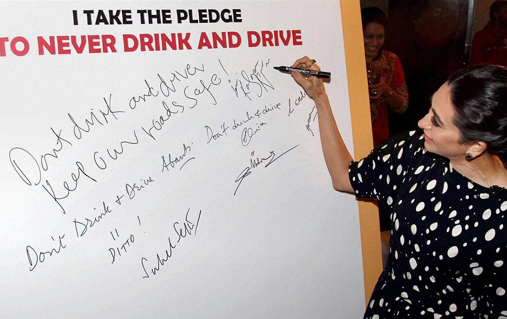 Karisma Kapoor during the launch of the Phase lll of Road To Safety initiative by USL-Diageo in Mumbai