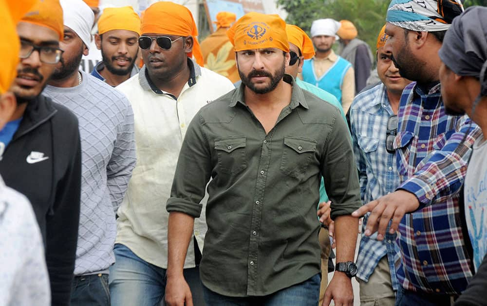 Saif Ali Khan during shooting of his film Chef at Golden Temple in Amritsar