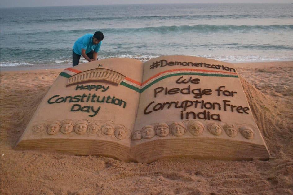Sudarshan Pattnaik makes sand art