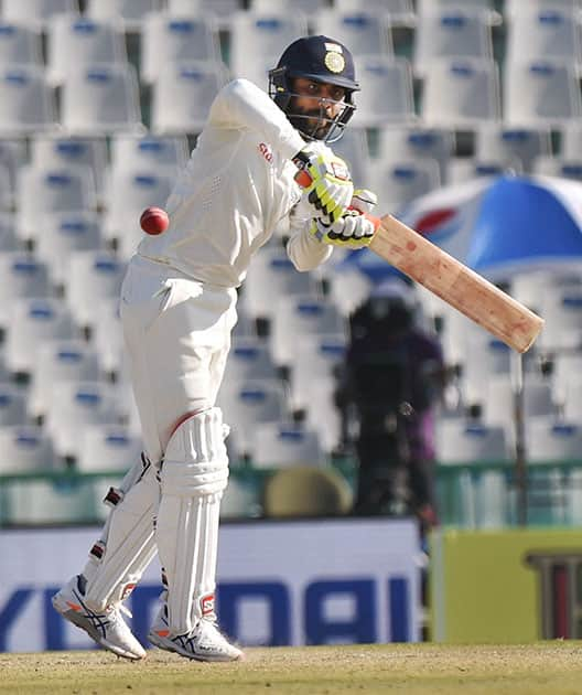 Ravindra Jadeja plays a shot on the third day of the third Test match between India and England in Mohali