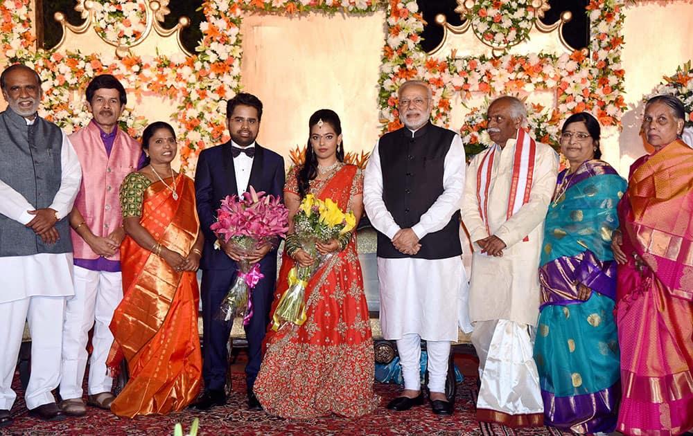 PM Modi at wedding reception of Bandaru Dattatraya's daughter