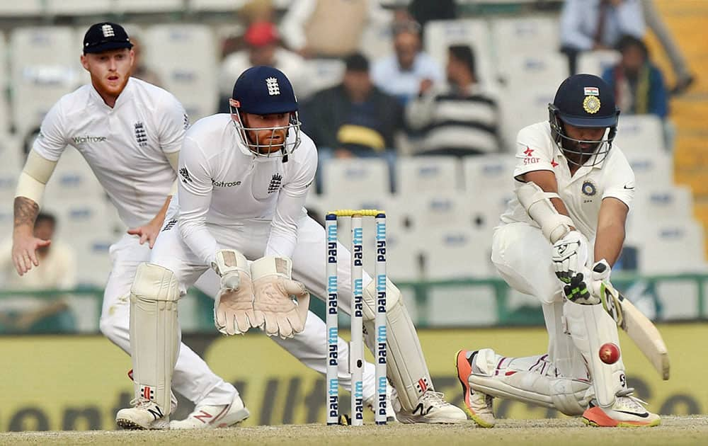 Parthiv Patel plays a shot on the fourth day of the third Test match between India and England in Mohali