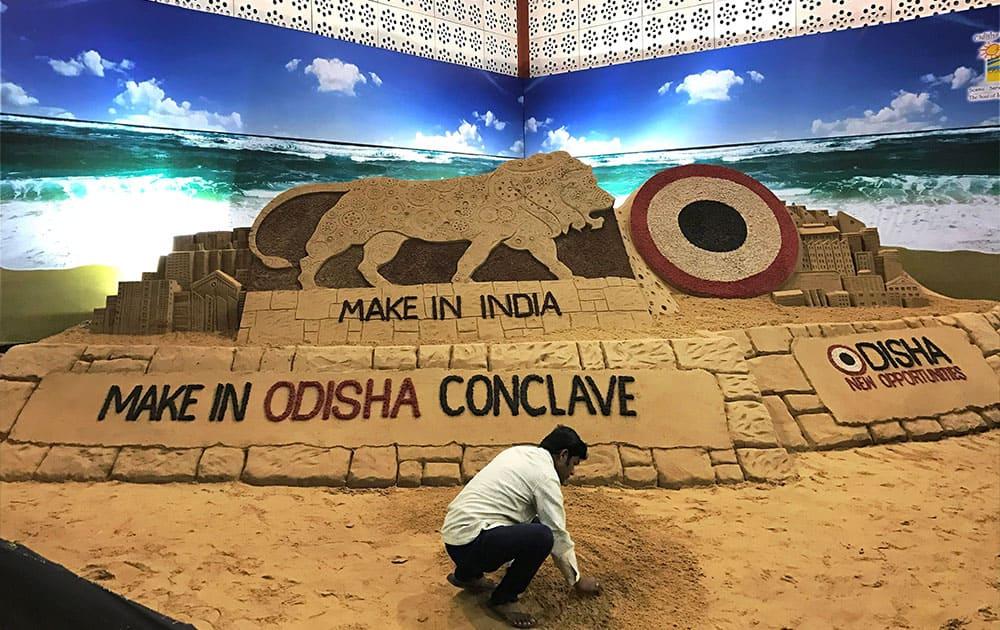 Make in Odisha Conclave sand statue