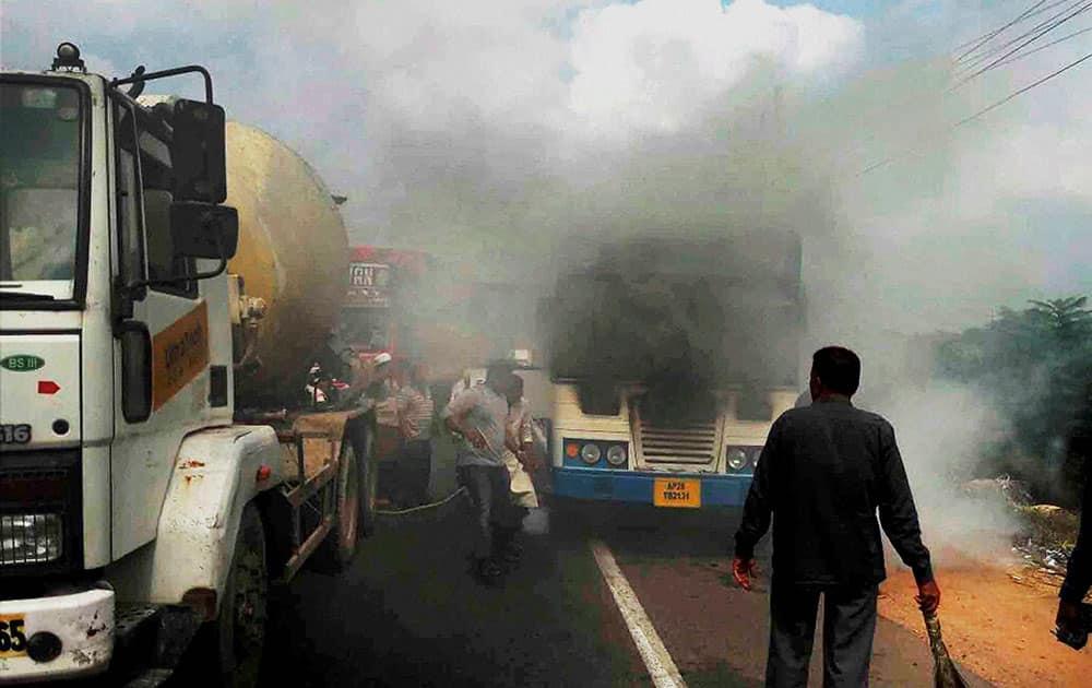 Passenger bus catches fire
