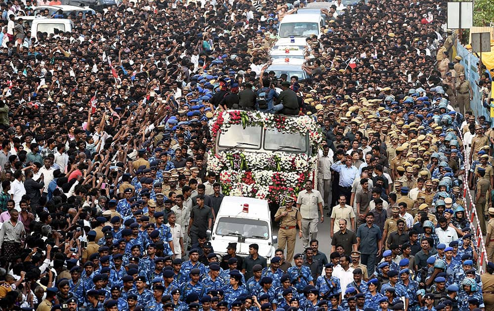 A sea of crowd during the funeral procession of Tamil Nadus former Chief Minister J Jayalalithaa in Chennai